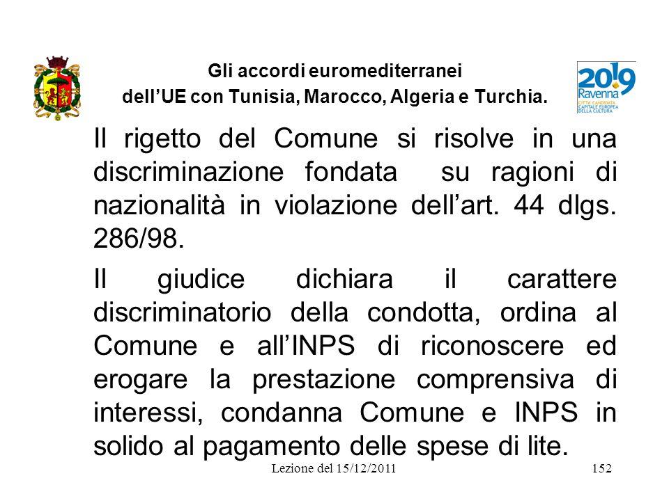Gli accordi euromediterranei dellUE con Tunisia, Marocco, Algeria e Turchia. Il rigetto del Comune si risolve in una discriminazione fondata su ragion