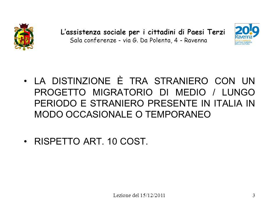 Lezione del 15/12/20114 Lassistenza sociale per i cittadini di Paesi Terzi Sala conferenze - via G.