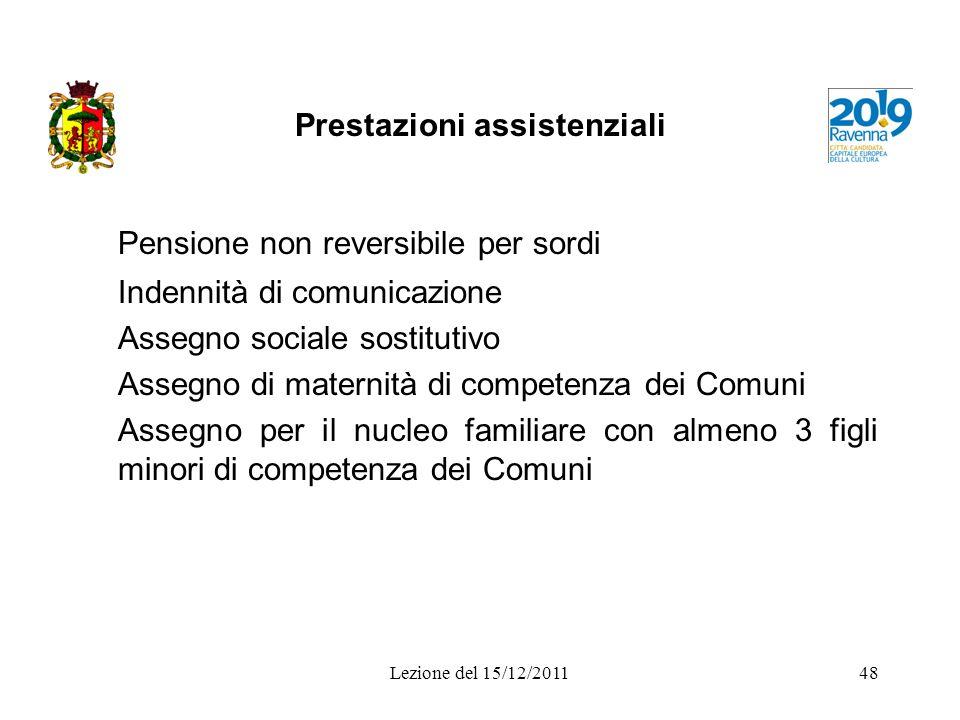 Prestazioni assistenziali Pensione non reversibile per sordi Indennità di comunicazione Assegno sociale sostitutivo Assegno di maternità di competenza