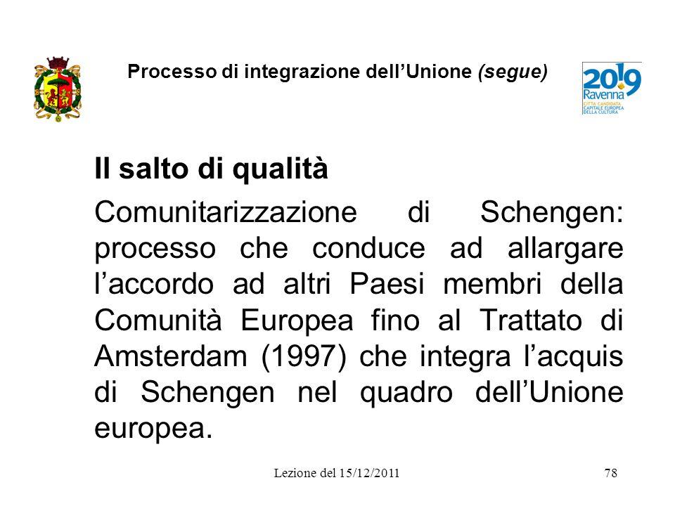 Processo di integrazione dellUnione (segue) Il salto di qualità Comunitarizzazione di Schengen: processo che conduce ad allargare laccordo ad altri Pa