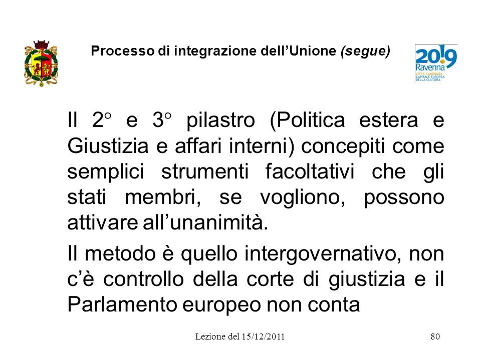 Processo di integrazione dellUnione (segue) Il 2° e 3° pilastro (Politica estera e Giustizia e affari interni) concepiti come semplici strumenti facol