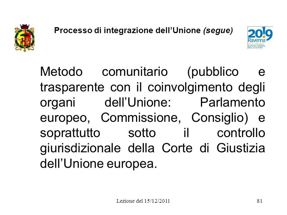 Processo di integrazione dellUnione (segue) Metodo comunitario (pubblico e trasparente con il coinvolgimento degli organi dellUnione: Parlamento europ