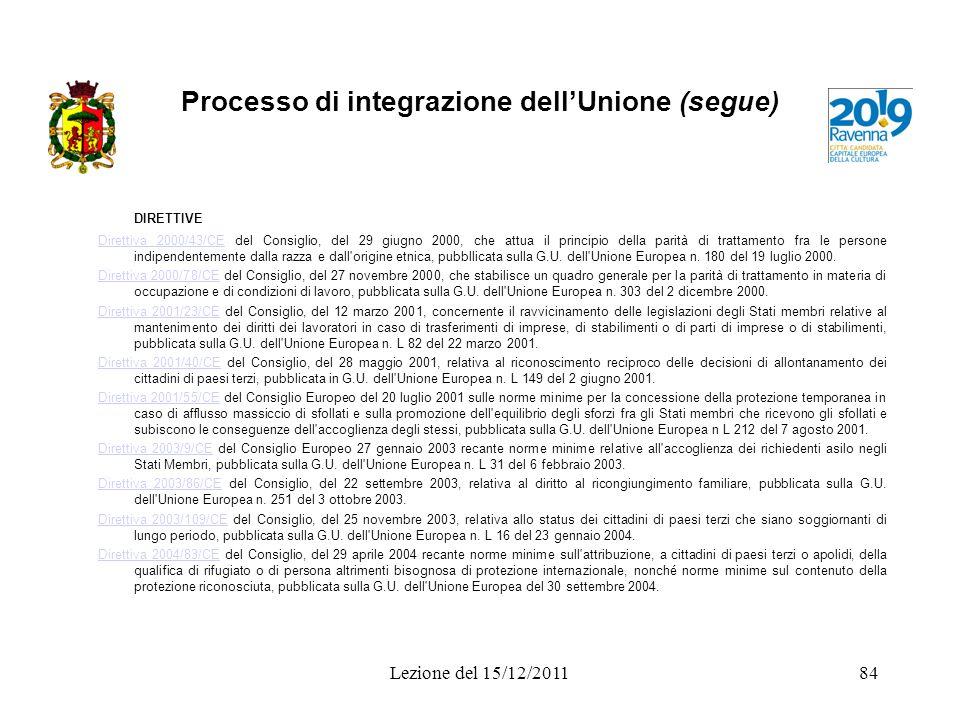 Processo di integrazione dellUnione (segue) DIRETTIVE Direttiva 2000/43/CEDirettiva 2000/43/CE del Consiglio, del 29 giugno 2000, che attua il princip