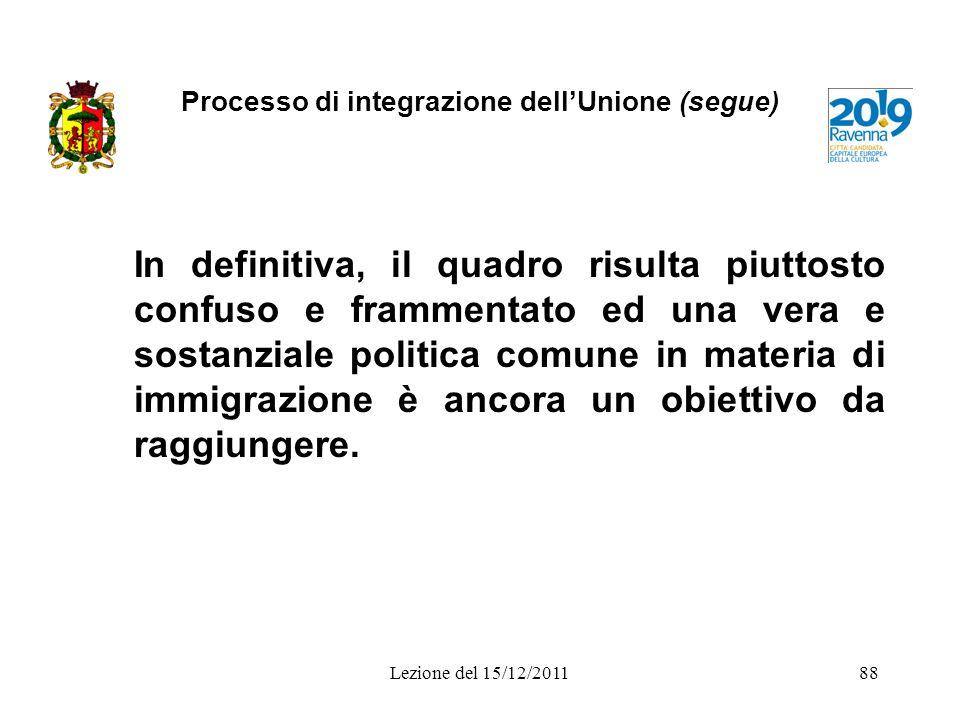 Processo di integrazione dellUnione (segue) In definitiva, il quadro risulta piuttosto confuso e frammentato ed una vera e sostanziale politica comune