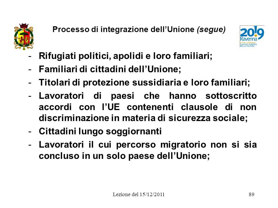 Processo di integrazione dellUnione (segue) -Rifugiati politici, apolidi e loro familiari; -Familiari di cittadini dellUnione; -Titolari di protezione