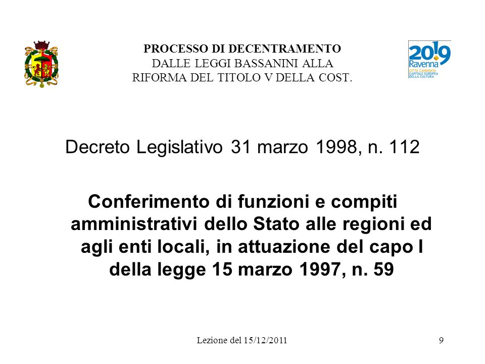 Lezione del 15/12/20119 PROCESSO DI DECENTRAMENTO DALLE LEGGI BASSANINI ALLA RIFORMA DEL TITOLO V DELLA COST. Decreto Legislativo 31 marzo 1998, n. 11