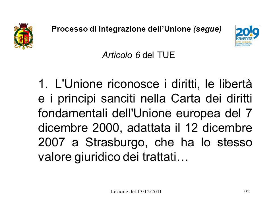 Processo di integrazione dellUnione (segue) Articolo 6 del TUE 1.L'Unione riconosce i diritti, le libertà e i principi sanciti nella Carta dei diritti