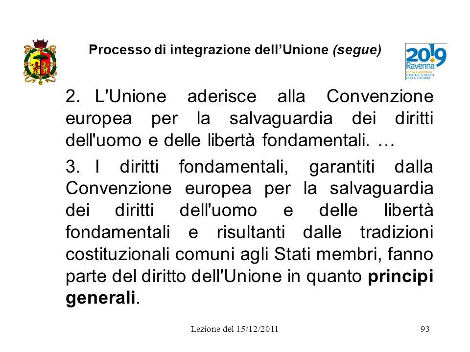 Processo di integrazione dellUnione (segue) 2.L'Unione aderisce alla Convenzione europea per la salvaguardia dei diritti dell'uomo e delle libertà fon