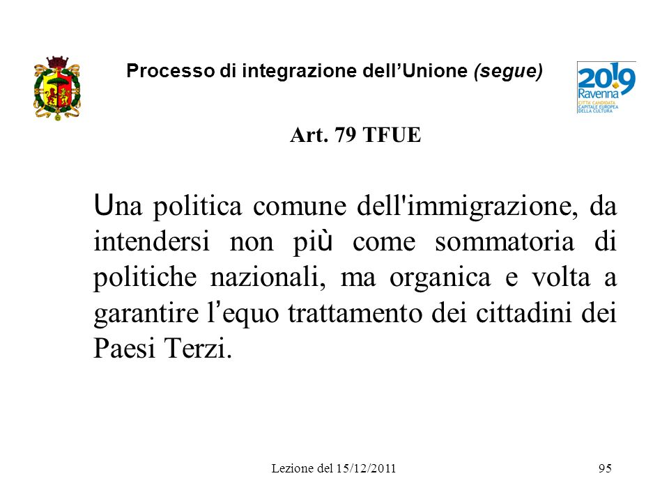 Processo di integrazione dellUnione (segue) Art. 79 TFUE U na politica comune dell'immigrazione, da intendersi non pi ù come sommatoria di politiche n