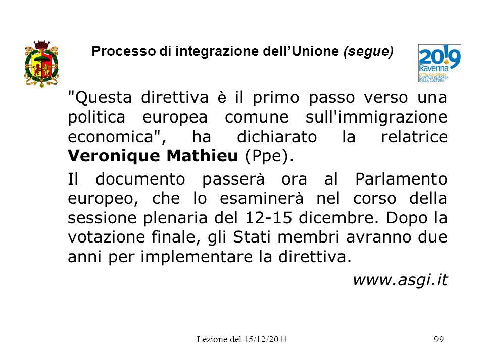 Processo di integrazione dellUnione (segue)