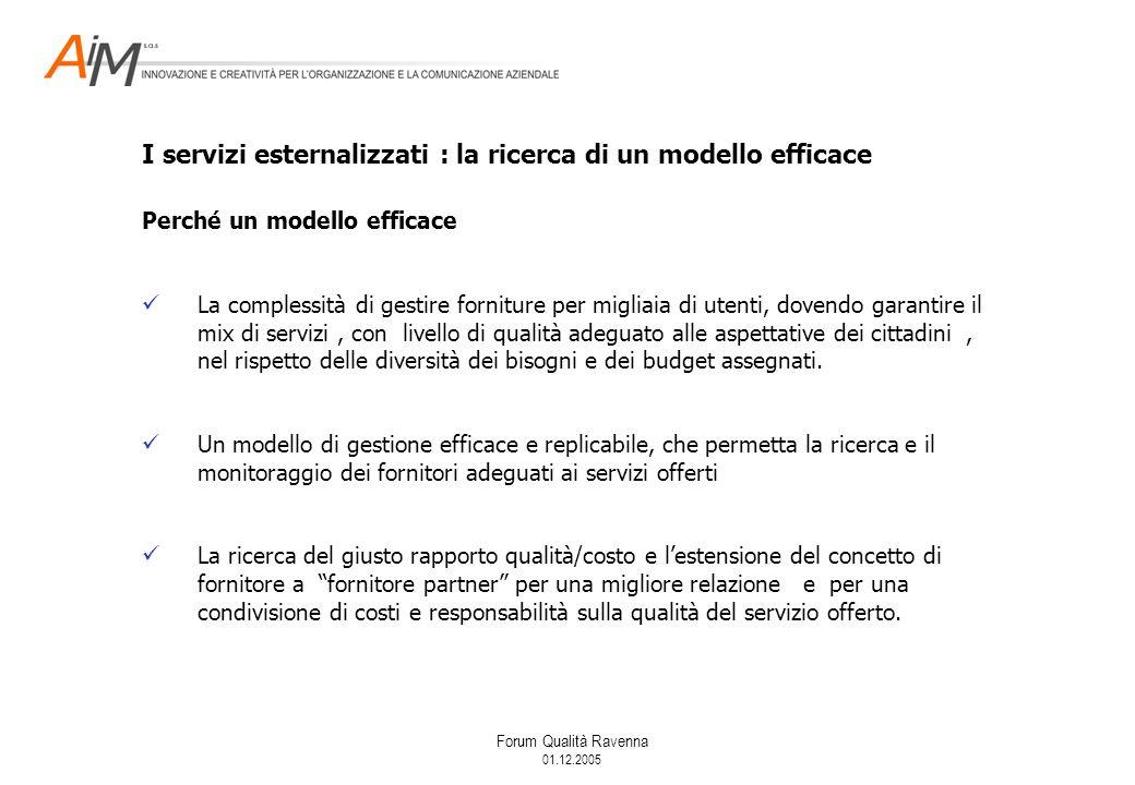 Forum Qualità Ravenna 01.12.2005 Perché un modello efficace La complessità di gestire forniture per migliaia di utenti, dovendo garantire il mix di servizi, con livello di qualità adeguato alle aspettative dei cittadini, nel rispetto delle diversità dei bisogni e dei budget assegnati.