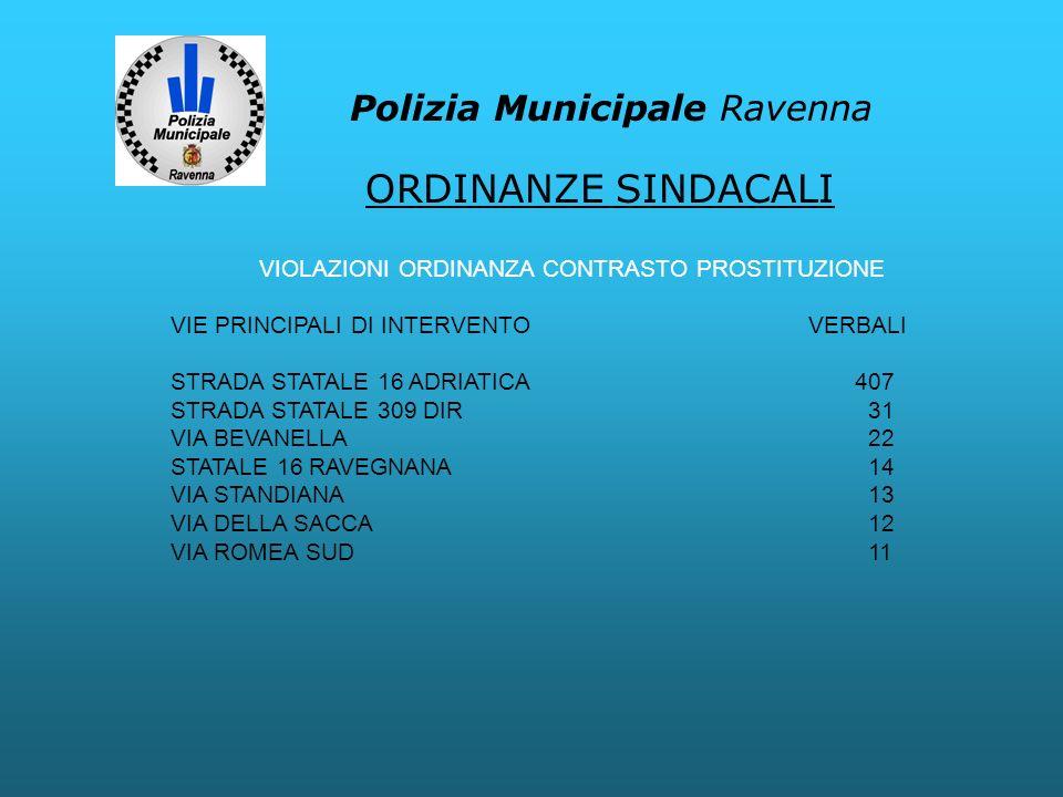 Polizia Municipale Ravenna VIOLAZIONI ORDINANZA CONTRASTO PROSTITUZIONE VIE PRINCIPALI DI INTERVENTOVERBALI STRADA STATALE 16 ADRIATICA 407 STRADA STA
