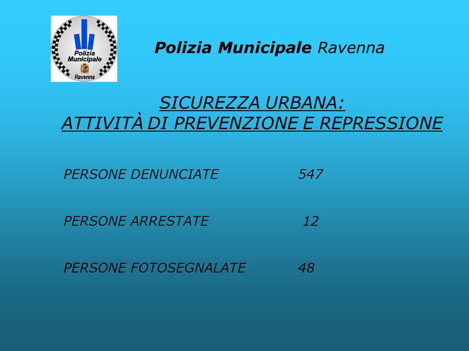 Polizia Municipale Ravenna PERSONE DENUNCIATE 547 PERSONE ARRESTATE 12 PERSONE FOTOSEGNALATE48 SICUREZZA URBANA: ATTIVITÀ DI PREVENZIONE E REPRESSIONE
