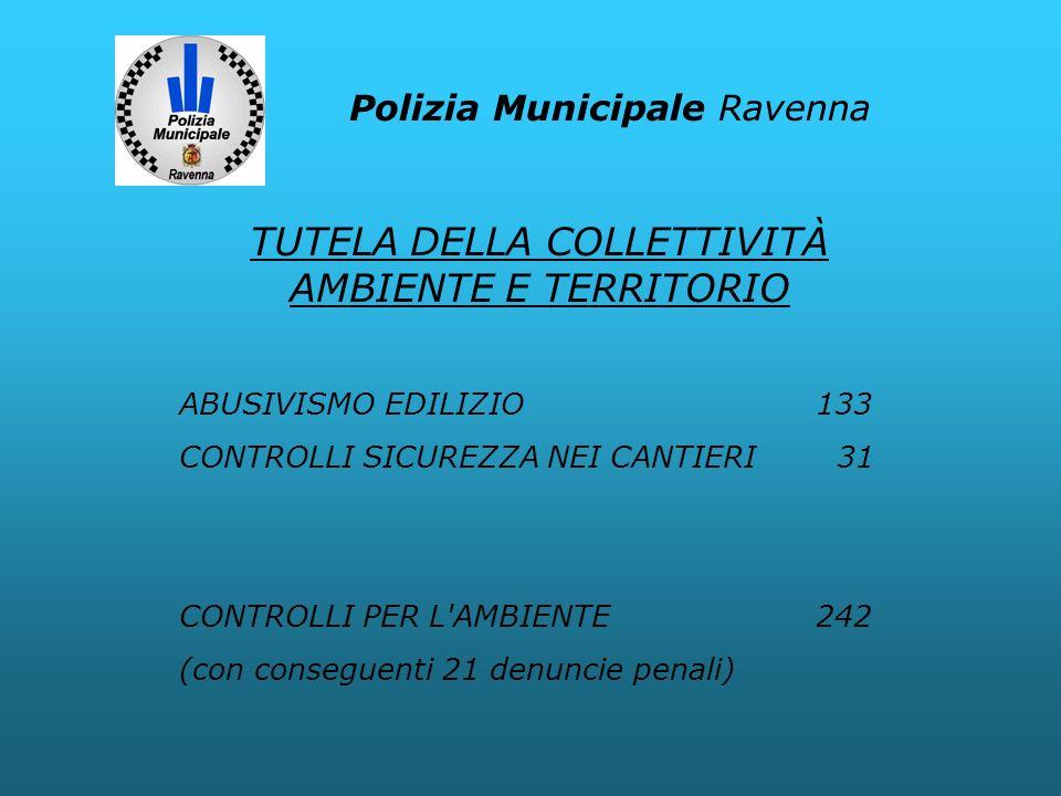 Polizia Municipale Ravenna ABUSIVISMO EDILIZIO133 CONTROLLI SICUREZZA NEI CANTIERI 31 CONTROLLI PER L'AMBIENTE242 (con conseguenti 21 denuncie penali)