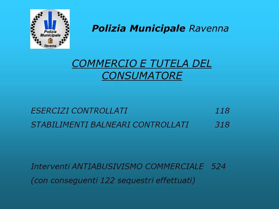 Polizia Municipale Ravenna ESERCIZI CONTROLLATI 118 STABILIMENTI BALNEARI CONTROLLATI 318 Interventi ANTIABUSIVISMO COMMERCIALE 524 (con conseguenti 1