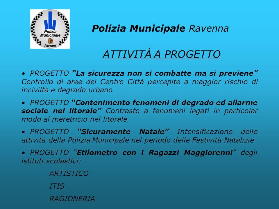 Polizia Municipale Ravenna PROGETTO La sicurezza non si combatte ma si previene Controllo di aree del Centro Città percepite a maggior rischio di inci
