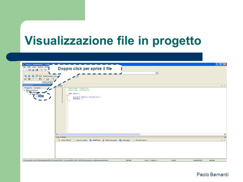 Paolo Bernardi Visualizzazione file in progetto Doppio click per aprire il file