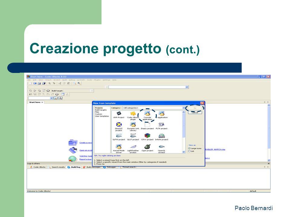 Paolo Bernardi Creazione progetto (cont.)
