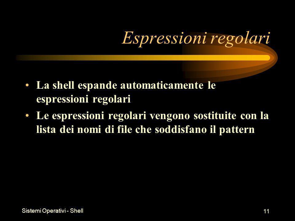 Sistemi Operativi - Shell 11 Espressioni regolari La shell espande automaticamente le espressioni regolari Le espressioni regolari vengono sostituite con la lista dei nomi di file che soddisfano il pattern