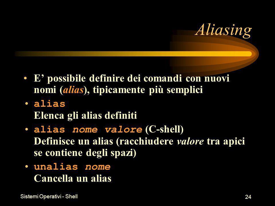 Sistemi Operativi - Shell 24 Aliasing E possibile definire dei comandi con nuovi nomi (alias), tipicamente più semplici alias Elenca gli alias definiti alias nome valore (C-shell) Definisce un alias (racchiudere valore tra apici se contiene degli spazi) unalias nome Cancella un alias
