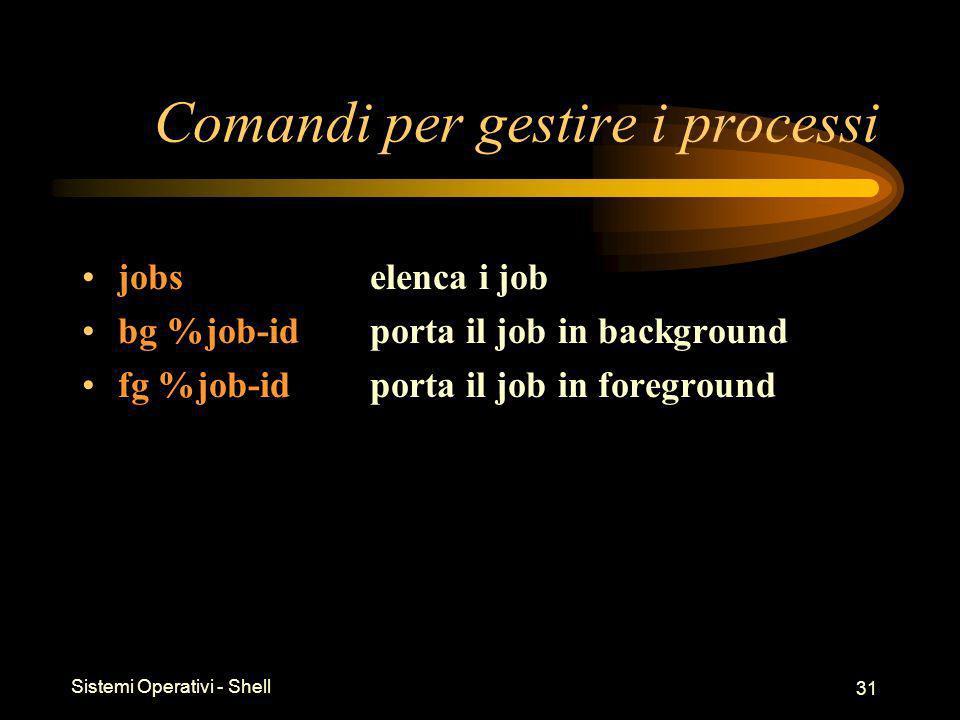 Sistemi Operativi - Shell 31 Comandi per gestire i processi jobs elenca i job bg %job-idporta il job in background fg %job-id porta il job in foregrou