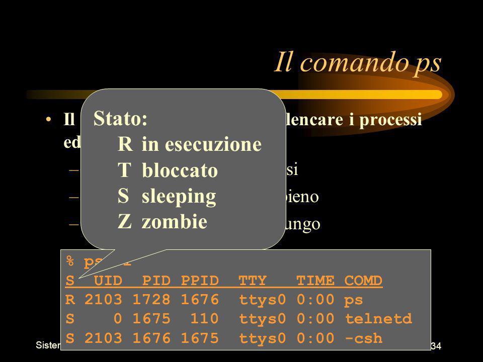 Sistemi Operativi - Shell 34 % ps -l S UID PID PPID TTY TIME COMD R 2103 1728 1676 ttys0 0:00 ps S 0 1675 110 ttys0 0:00 telnetd S 2103 1676 1675 ttys