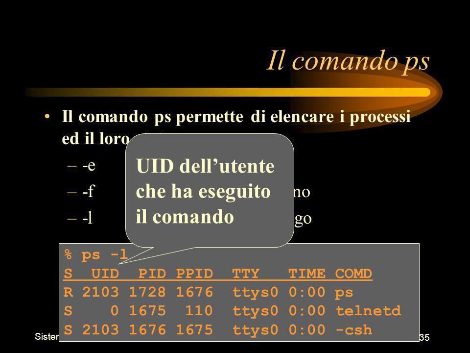 Sistemi Operativi - Shell 35 % ps -l S UID PID PPID TTY TIME COMD R 2103 1728 1676 ttys0 0:00 ps S 0 1675 110 ttys0 0:00 telnetd S 2103 1676 1675 ttys0 0:00 -csh Il comando ps Il comando ps permette di elencare i processi ed il loro stato –-eelenca tutti i processi –-felenco in formato pieno –-lelenco in formato lungo UID dellutente che ha eseguito il comando