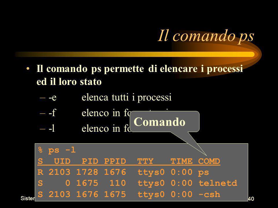 Sistemi Operativi - Shell 40 % ps -l S UID PID PPID TTY TIME COMD R 2103 1728 1676 ttys0 0:00 ps S 0 1675 110 ttys0 0:00 telnetd S 2103 1676 1675 ttys0 0:00 -csh Il comando ps Il comando ps permette di elencare i processi ed il loro stato –-eelenca tutti i processi –-felenco in formato pieno –-lelenco in formato lungo Comando