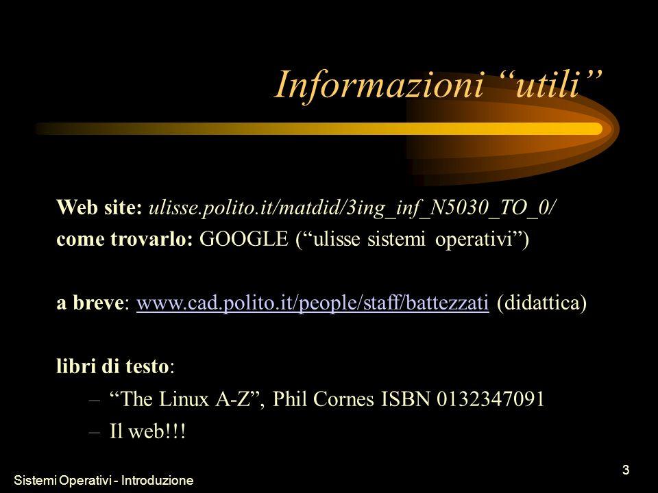 Sistemi Operativi - Introduzione 3 Informazioni utili Web site: ulisse.polito.it/matdid/3ing_inf_N5030_TO_0/ come trovarlo: GOOGLE (ulisse sistemi operativi) a breve: www.cad.polito.it/people/staff/battezzati (didattica)www.cad.polito.it/people/staff/battezzati libri di testo: –The Linux A-Z, Phil Cornes ISBN 0132347091 –Il web!!!