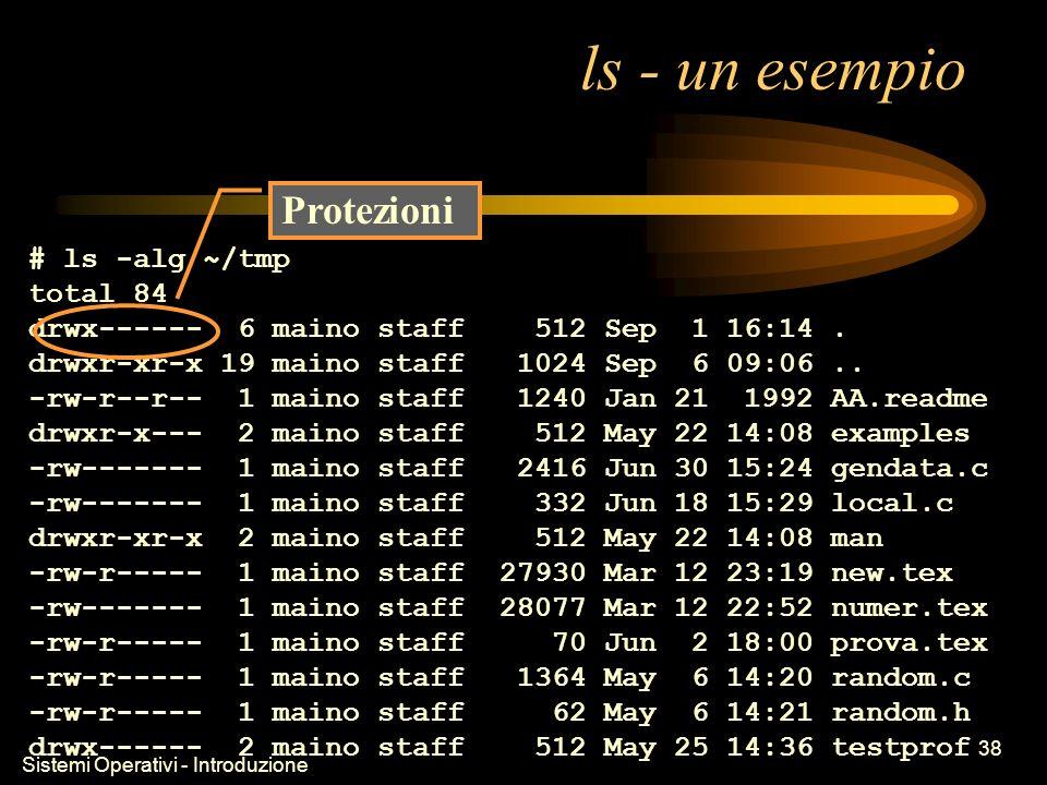 Sistemi Operativi - Introduzione 38 ls - un esempio # ls -alg ~/tmp total 84 drwx------ 6 maino staff 512 Sep 1 16:14.