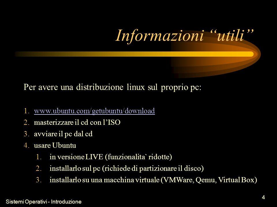Sistemi Operativi - Introduzione 4 Informazioni utili Per avere una distribuzione linux sul proprio pc: 1.www.ubuntu.com/getubuntu/downloadwww.ubuntu.com/getubuntu/download 2.masterizzare il cd con lISO 3.avviare il pc dal cd 4.usare Ubuntu 1.in versione LIVE (funzionalita` ridotte) 2.installarlo sul pc (richiede di partizionare il disco) 3.installarlo su una macchina virtuale (VMWare, Qemu, Virtual Box)
