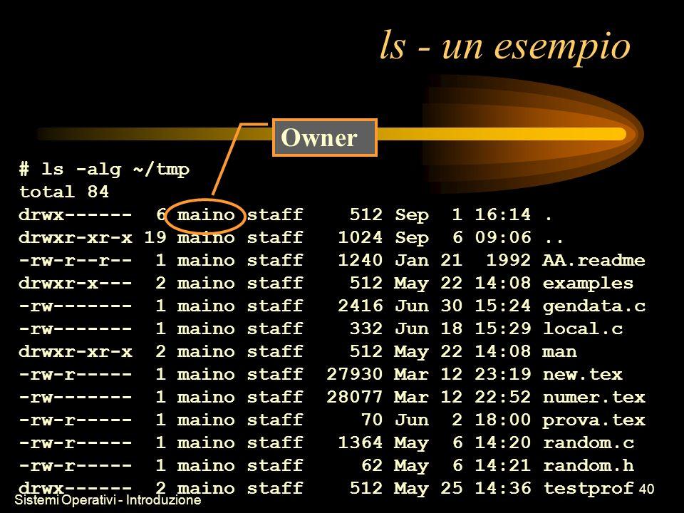 Sistemi Operativi - Introduzione 40 ls - un esempio # ls -alg ~/tmp total 84 drwx------ 6 maino staff 512 Sep 1 16:14.