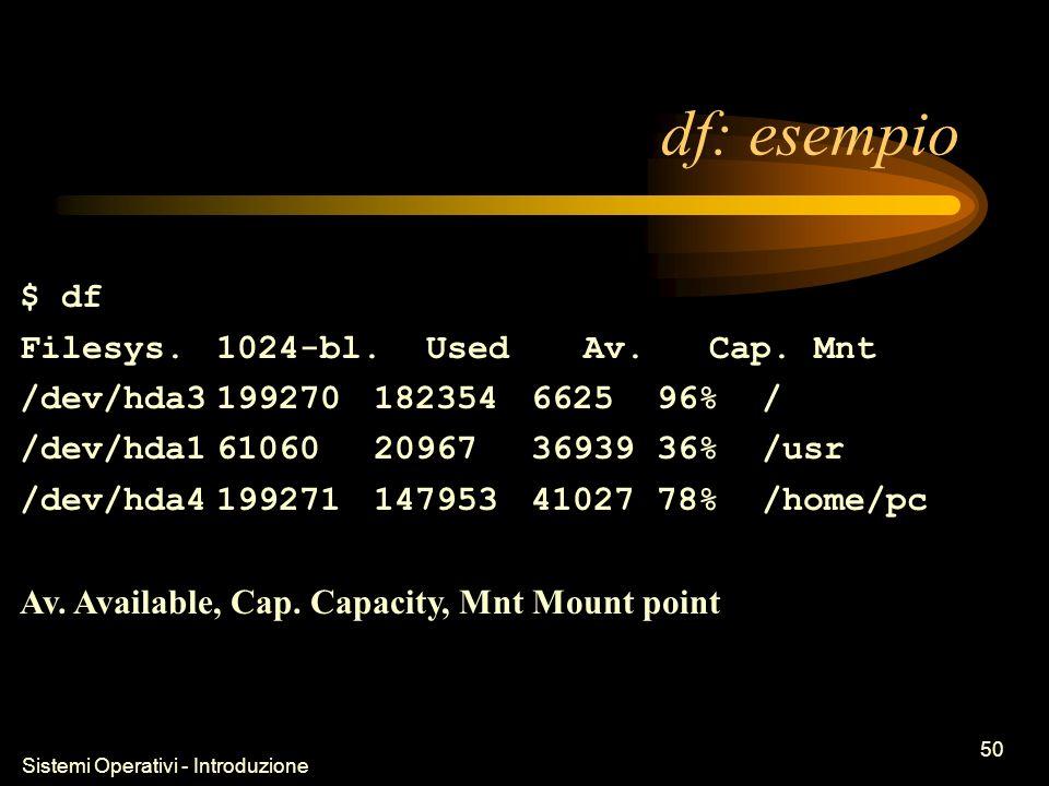 Sistemi Operativi - Introduzione 50 df: esempio $ df Filesys.1024-bl.Used Av.