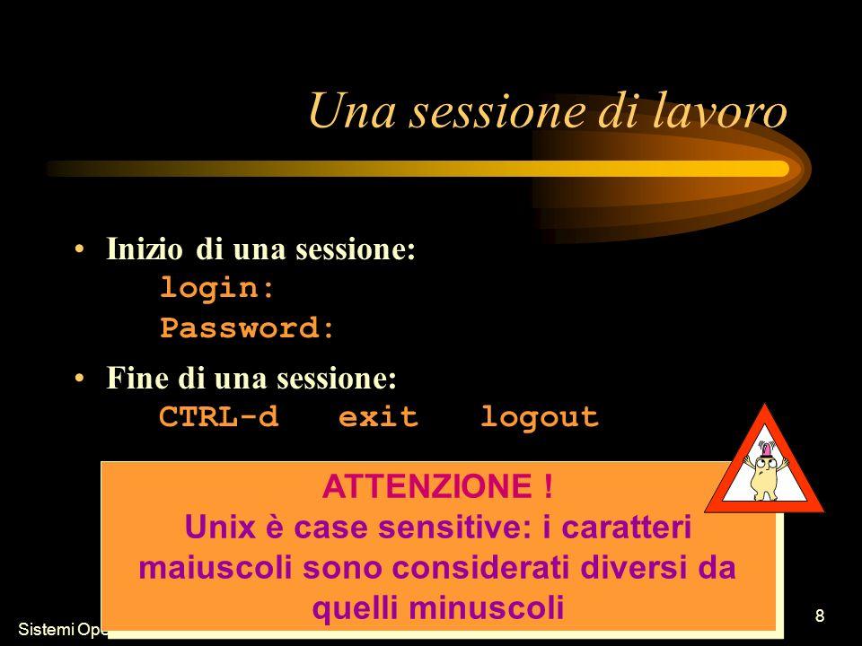 Sistemi Operativi - Introduzione 8 Una sessione di lavoro Inizio di una sessione: login: Password: Fine di una sessione: CTRL-d exit logout ATTENZIONE .