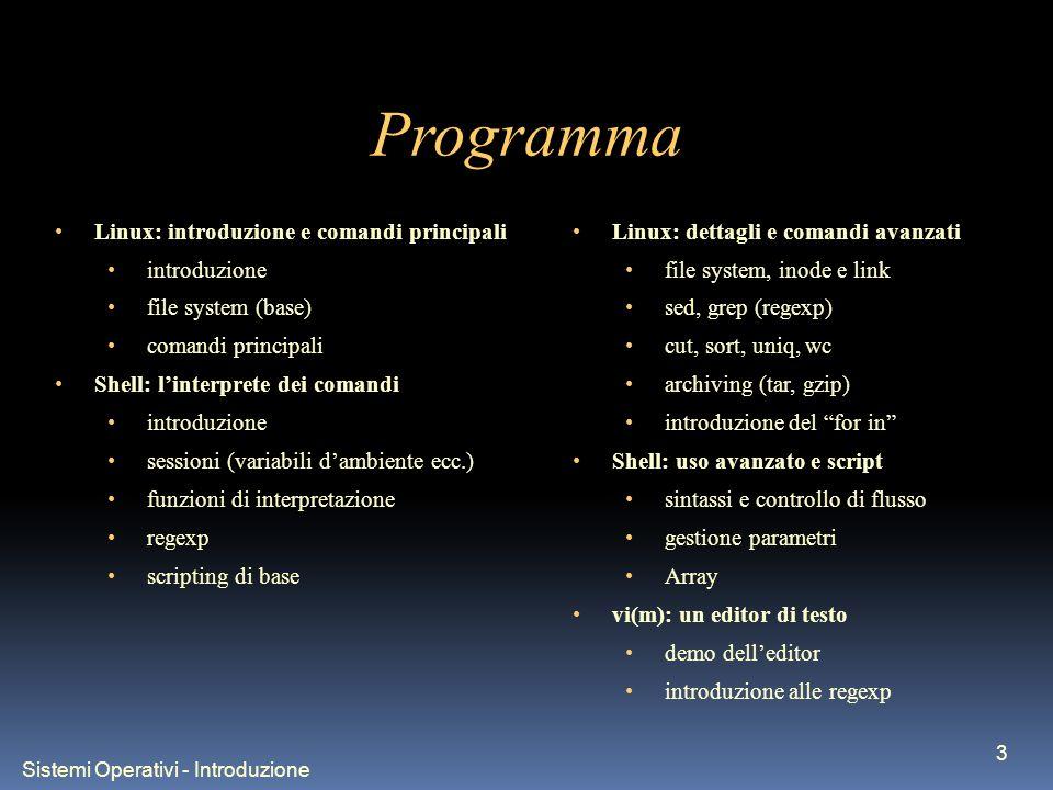 Sistemi Operativi - Introduzione 3 Programma Linux: introduzione e comandi principali introduzione file system (base) comandi principali Shell: linter
