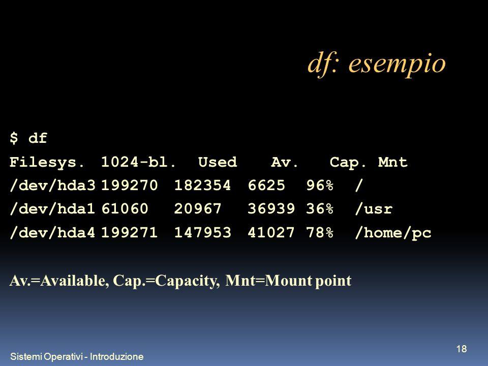 Sistemi Operativi - Introduzione 18 df: esempio $ df Filesys.1024-bl.Used Av.