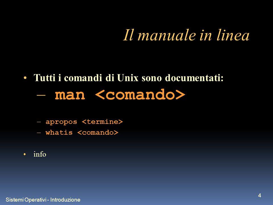 Sistemi Operativi - Introduzione 4 Il manuale in linea Tutti i comandi di Unix sono documentati: – man – apropos – whatis info