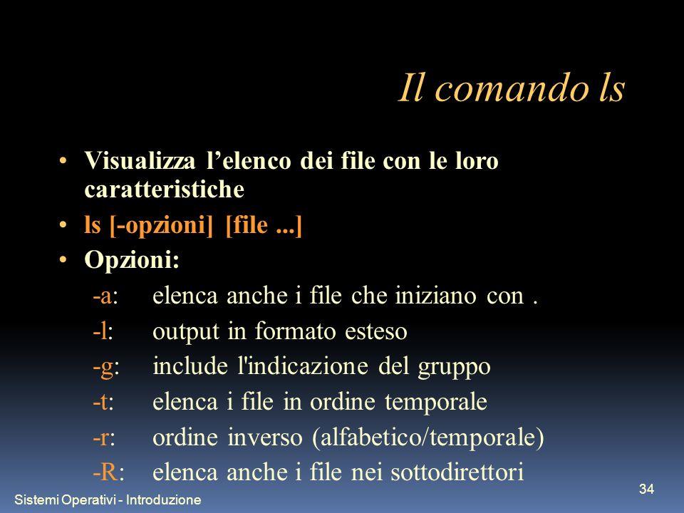 Sistemi Operativi - Introduzione 34 Il comando ls Visualizza lelenco dei file con le loro caratteristiche ls [-opzioni] [file...] Opzioni: -a:elenca a