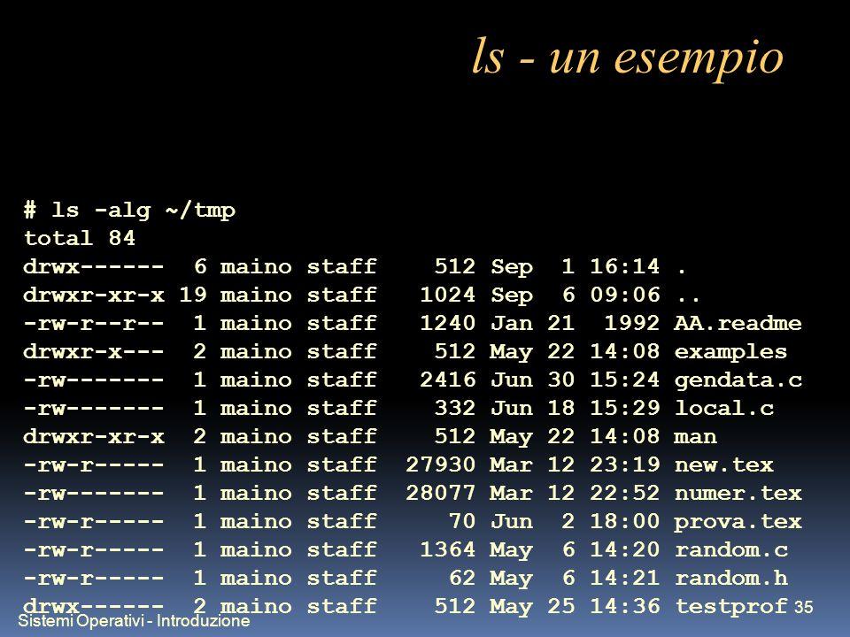 Sistemi Operativi - Introduzione 35 ls - un esempio # ls -alg ~/tmp total 84 drwx------ 6 maino staff 512 Sep 1 16:14. drwxr-xr-x 19 maino staff 1024