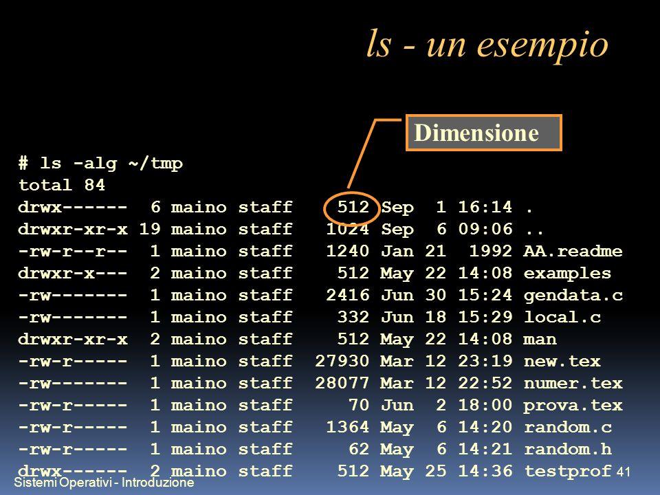 Sistemi Operativi - Introduzione 41 ls - un esempio # ls -alg ~/tmp total 84 drwx------ 6 maino staff 512 Sep 1 16:14. drwxr-xr-x 19 maino staff 1024