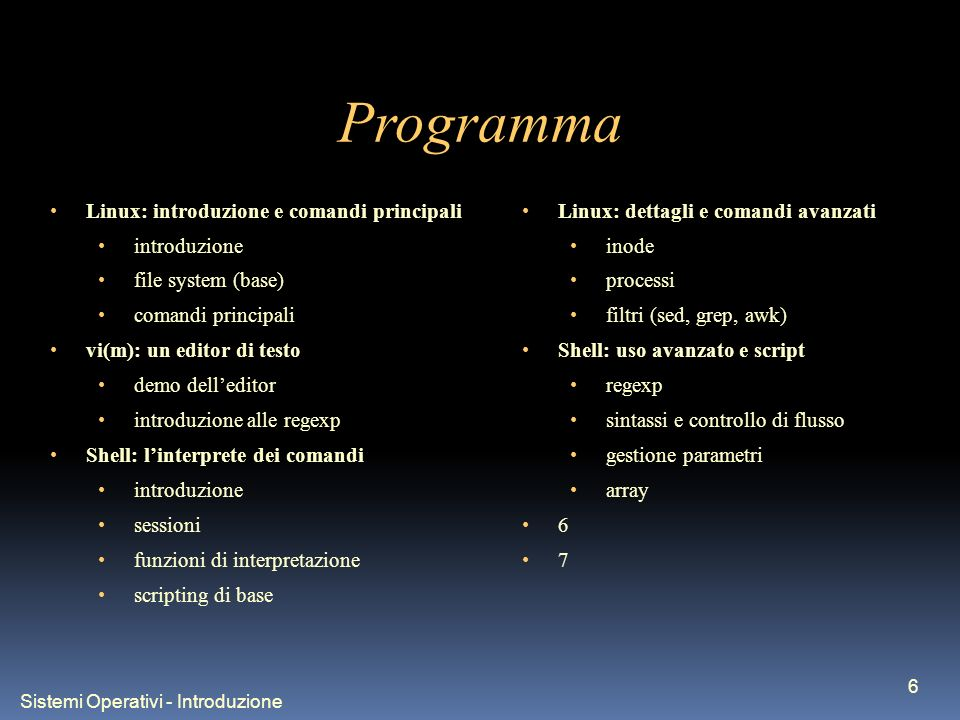 Sistemi Operativi - Introduzione 6 Programma Linux: introduzione e comandi principali introduzione file system (base) comandi principali vi(m): un edi