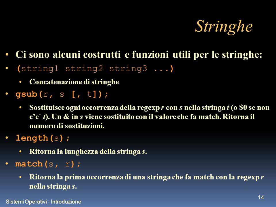 Sistemi Operativi - Introduzione 14 Stringhe Ci sono alcuni costrutti e funzioni utili per le stringhe: (string1 string2 string3...) Concatenazione di stringhe gsub(r, s [, t]); Sostituisce ogni occorrenza della regexp r con s nella stringa t (o $0 se non ce` t).