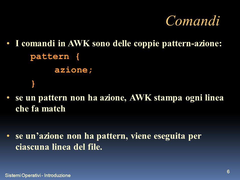 Sistemi Operativi - Introduzione 6 Comandi I comandi in AWK sono delle coppie pattern-azione: pattern { azione; } se un pattern non ha azione, AWK stampa ogni linea che fa match se unazione non ha pattern, viene eseguita per ciascuna linea del file.
