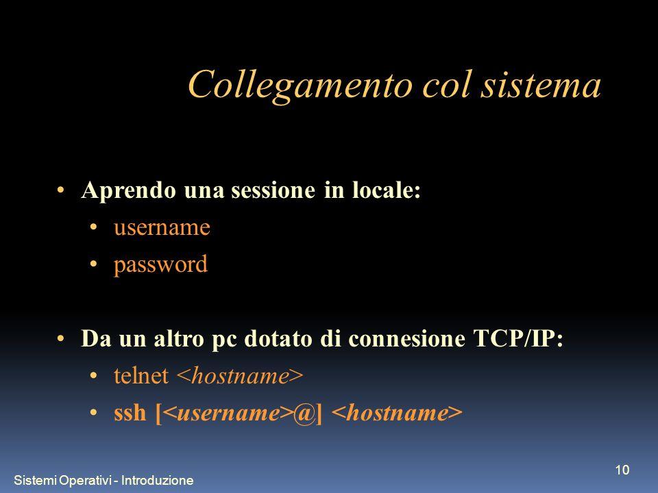 Sistemi Operativi - Introduzione 10 Collegamento col sistema Aprendo una sessione in locale: username password Da un altro pc dotato di connesione TCP/IP: telnet ssh [ @]