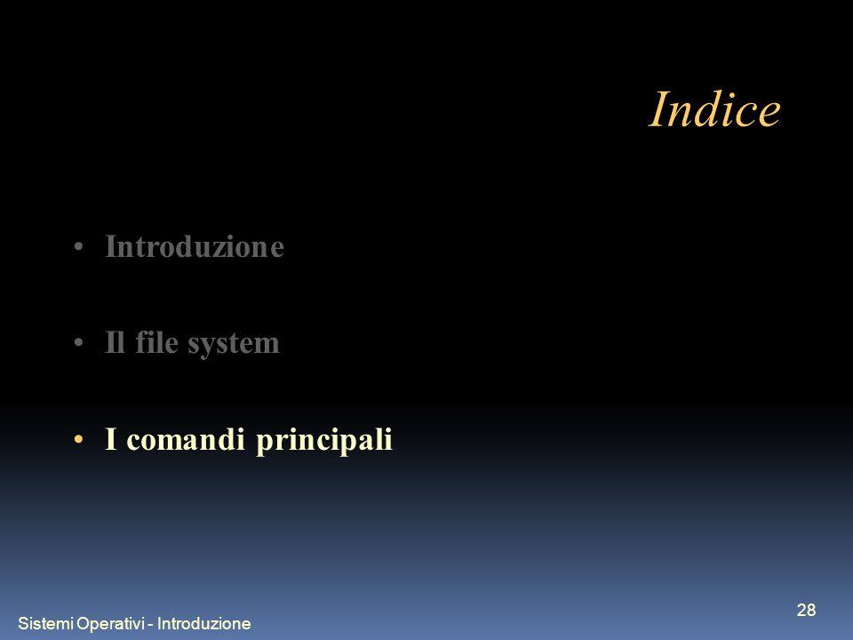 Sistemi Operativi - Introduzione 28 Indice Introduzione Il file system I comandi principali