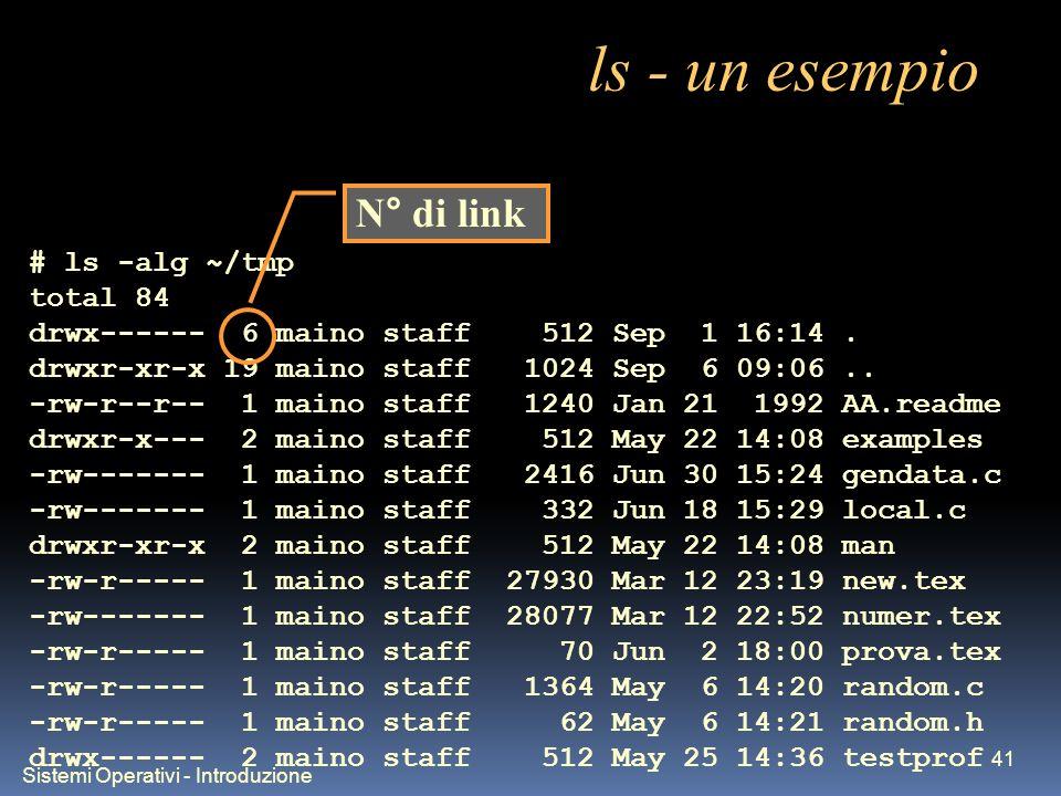 Sistemi Operativi - Introduzione 41 ls - un esempio # ls -alg ~/tmp total 84 drwx------ 6 maino staff 512 Sep 1 16:14.