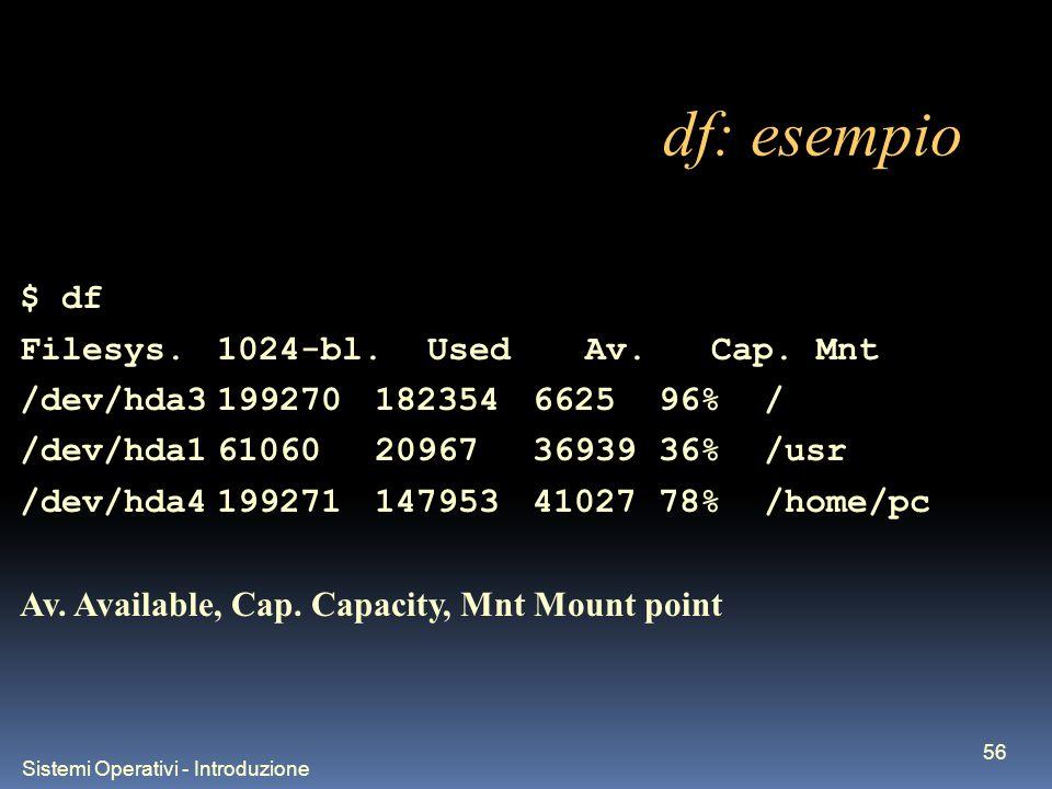 Sistemi Operativi - Introduzione 56 df: esempio $ df Filesys.1024-bl.Used Av.