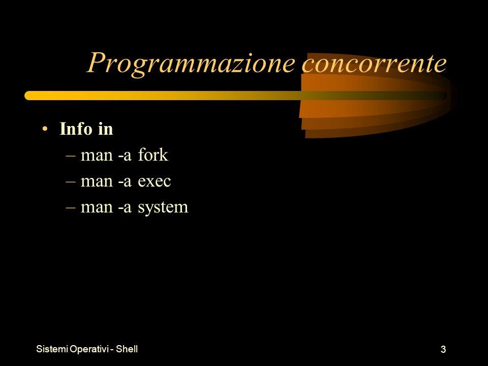 Sistemi Operativi - Shell 4 fork() Sintassi: –pid_t fork ( void ) Funzione: –Duplica la memoria del processo chiamante –Assegna un PID diverso e unico al figlio Valore di ritorno: –0 al figlio –PID del figlio al padre –-1 in caso di errore