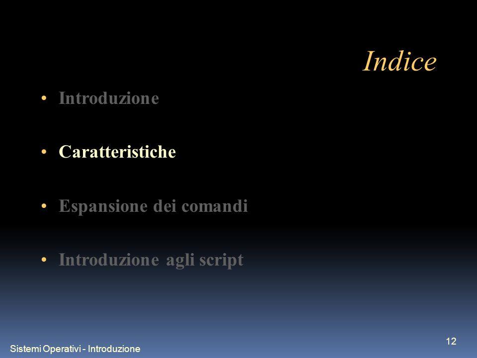 Sistemi Operativi - Introduzione 12 Indice Introduzione Caratteristiche Espansione dei comandi Introduzione agli script