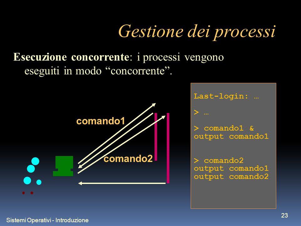 Sistemi Operativi - Introduzione 23 Gestione dei processi Last-login: … > … > comando1 & output comando1 > comando2 output comando1 output comando2 Esecuzione concorrente: i processi vengono eseguiti in modo concorrente.